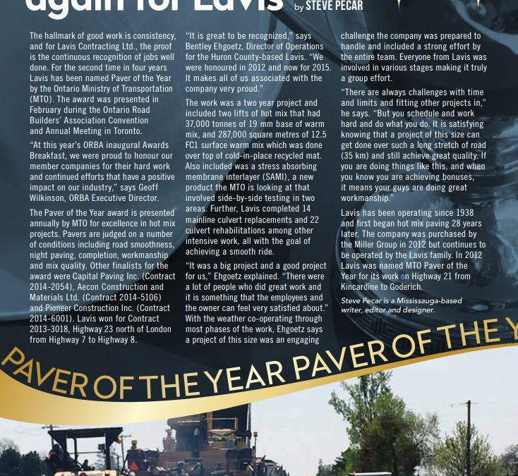 MTO Paver of The Year 2012 & 2015