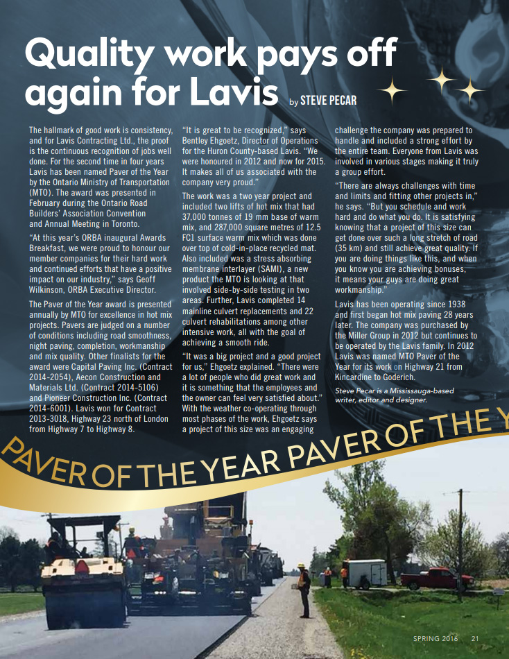 Lavis Contracting Co LTD - Paver of the year 2012 & 2015