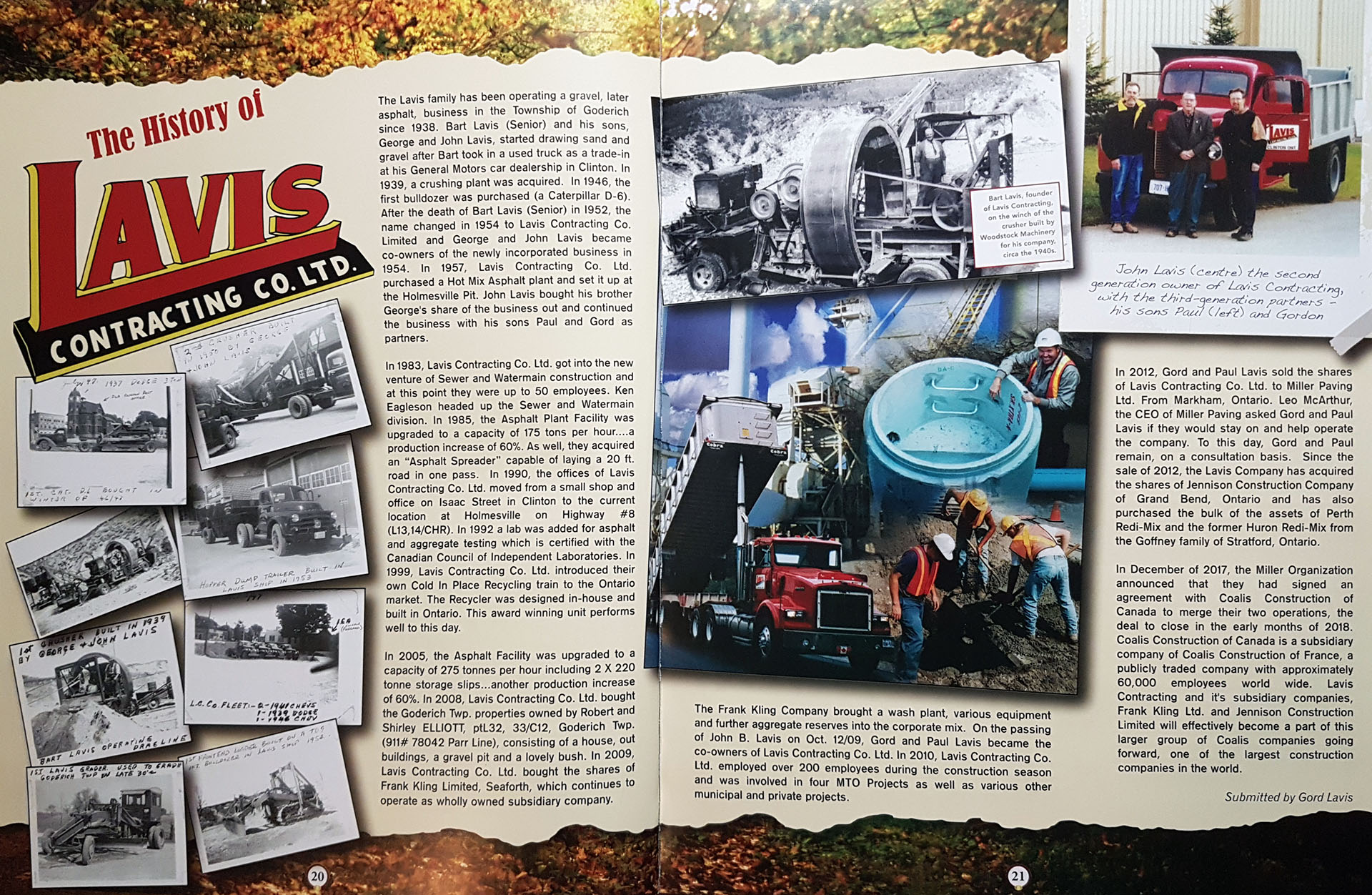 The history of Lavis Contracting Co. Limited